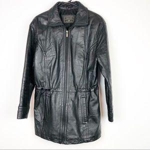 Express Black Leather Jacket Adjustable Waistband